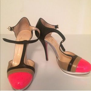 Christian Louboutin hot pink multicolor T strap